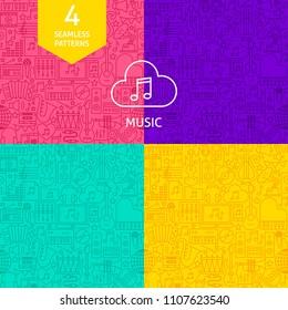 Line Music Patterns. Four Vector Website Design Backgrounds.