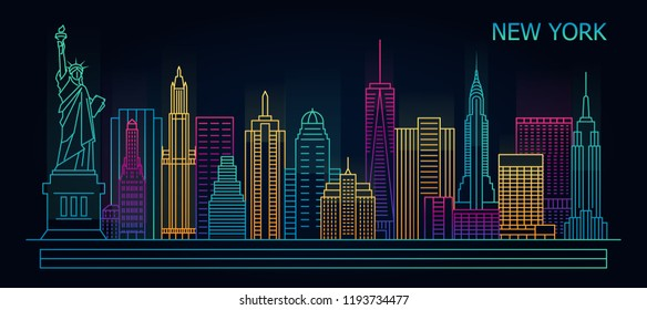 Line New York night city skyline with buildings, towers, vector illustration. Cityscape in linear style in neon lights, vector illustration