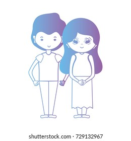 line nice couple together with hairstyle design