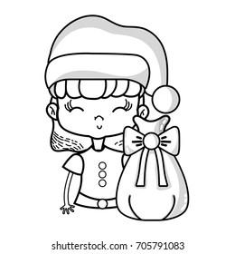 line nice girl with hat and christmas bag
