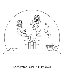 line nice mermaids under water with castle and coffer