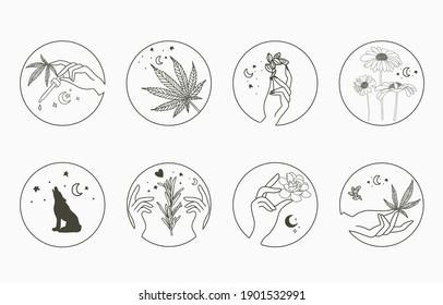 Line-Objektsammlung mit Hand, Cannabis, Fuchs, Sonnenblume, Mond