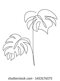 Line One minimal tropical leaves. Minimalist leaves design. Сontinuous line drawing palm leaf. Vector EPS 10.