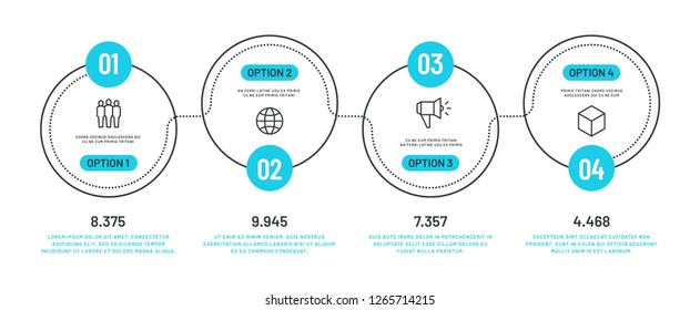 Line option infographic. Number infograph, process steps chart with outline icons. Flowchart diagram vector template