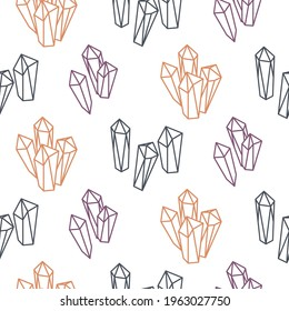 Line outline hand drawn crystals seamless pattern, gems and minerals icons