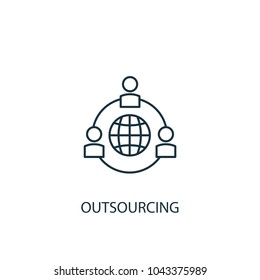 Line Outsourcing icon. Simple element illustration. Outsourcing symbol design from HR collection. Can be used in web and mobile.