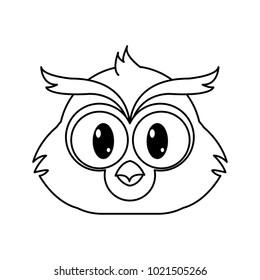 line owl head cute animal character