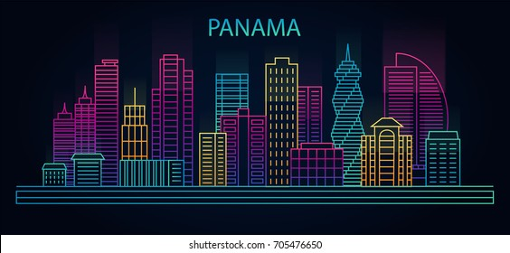 Line Panama city city night background. Cityscape  in linear style in neon lights, vector illustration
