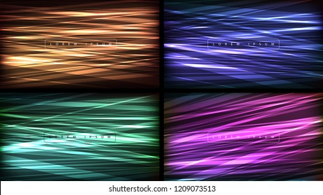 Line pattern background set. Vector geometric background. Web banner, flyer, cover, presentation design