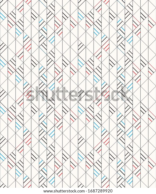 Line pattern with a combination of black blur and red lines with paper white background