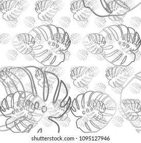 Line pattern of florel drawing in white blackground. Seamless vector background. Modern monochrome texture. Vector illustration.