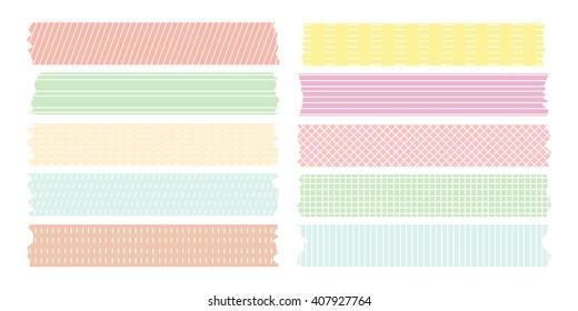 line pattern masking tape set pastel color