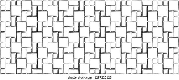 Line pattern square flag tile background Memphis style Design shapes elements polka dot Vector Geometric seamless Texture herringbone fun funny Retro Pop Art zigzag transparent flagstone banner