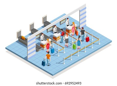 Line people airport isometric composition of flight check-in desk with bag drop counters and passenger characters vector illustration