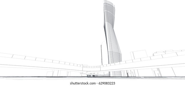 line perspective drawing of a tower seen from the street