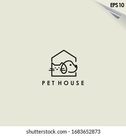 Line Of Pet House Logo Design. Pet House Logo Template. Modern Design. Flat Logo. Vector Illustration