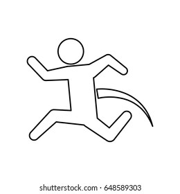 line pictogram man jumping up concept
