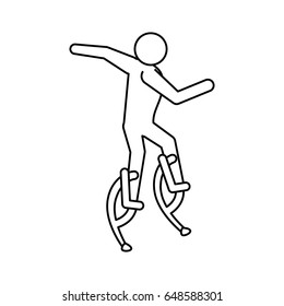 line pictogram man jumping with a skyrunner