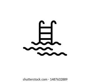 Line pool icon isolated on white background. Outline aquapark symbol for website design, mobile application, ui. Water pictogram. Vector illustration, editable strok. Eps10