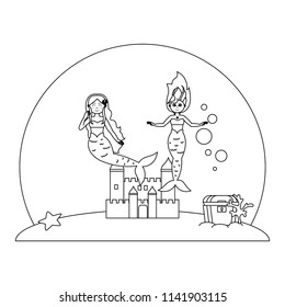 line pretty mermaids under water with castle and coffer