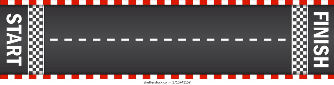 Line racing track with start and finish in top view. Asphalt for drive in auto. Tarmac roadway with red grid texture border for sport competition. Automobile road for car. Traffic rally. vector
