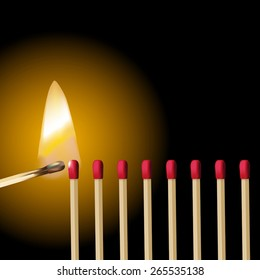 A line of red safety matches and burning match ignition. Vector illustration