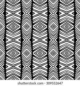 Line rhombus vector seamless pattern. Repeating geometric tiles. Modern stylish texture. Monochrome arabic, aztec design. Hand drawn tribe motif.
