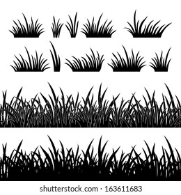 Line seamless and set of grass, element for design, black silhouette isolated on white background. Vector