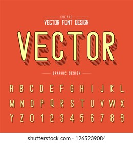 Line shadow font and alphabet vector, Letter style typeface and number design, Graphic text on background