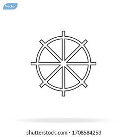 Line Ship steering wheel sign icon, vector illustration. Flat design style
