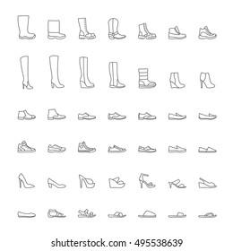 Line shoes icons set. Vector illustration