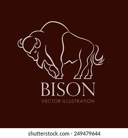 line sign bison on brown background