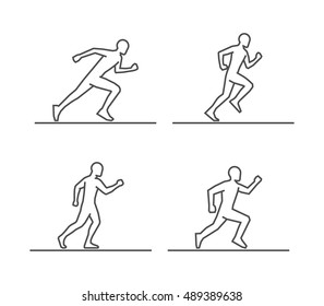 Line silhouettes of runners. Vector set of linear runners figures.