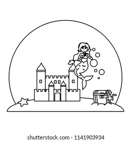 line siren woman under water with castle and coffer