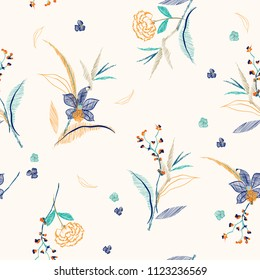 Line Sketch and drawing embroidery flowers and leaves ,seamless pattern vector for fashion prints,fabric and all prints on cream color background