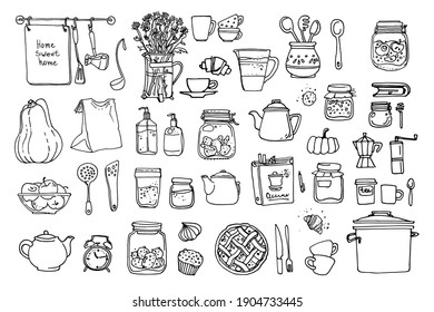 Line sketch of flowers in pots, home decor. Drawing vector black. Dishes, cups, food, kitchen
