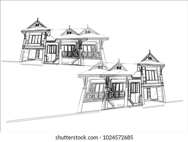 Line sketch home on white background,EPS10