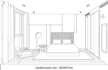 Modern Bedroom Sketch High Res Stock Images Shutterstock