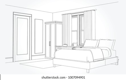 Line sketch of an interior. Room plan. Sketch Line bedrooms. Vector illustration.outline sketch drawing perspective of a interior space