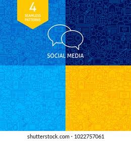 Line Social Media Patterns. Four Vector Website Design Backgrounds.