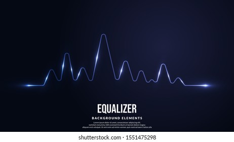 Line Spectrum Sounds. Cool Sound Frequency with Light Rays. Vibrant Gradient Light with Wave Equalizer Design. Vector illustration eps 10.