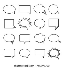 Line speech bubbles. Icon representing the speech or thoughts of a character in the comic. Vector line art illustration isolated on white background