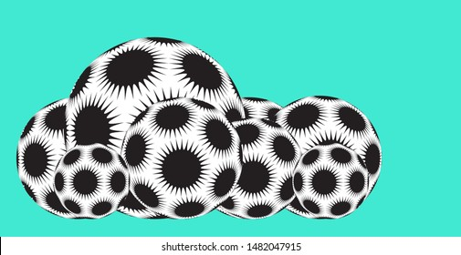 line of spiky stars balls in black and white shades on blue