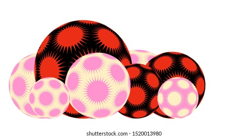 line of spiky stars balls in black pink red shades on white