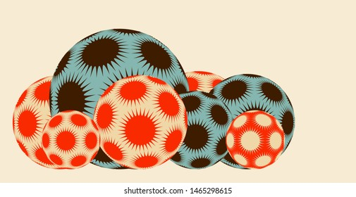 line of spiky stars balls in blue brown red shades on ivory