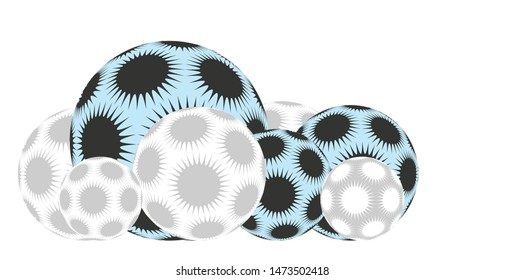 line of spiky stars balls in blue soft silver shades on white