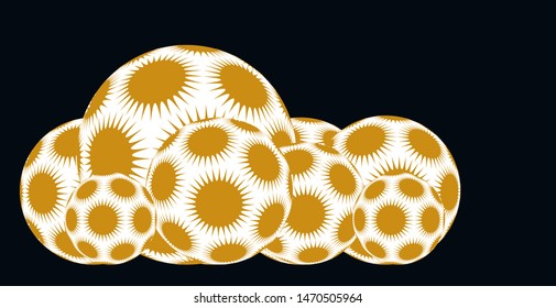line of spiky stars balls in gold white shades on black