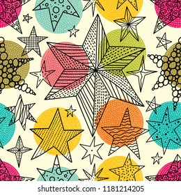 Line stars and colorful dots. Seamless vector pattern. Seamless pattern can be used for wallpaper, pattern fills, web page background, surface textures.