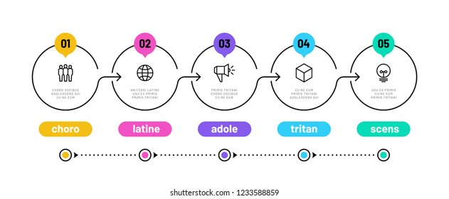 Line step infographic. 5 options workflow diagram, circle timeline number infograph, process steps chart. Linear vector infographics