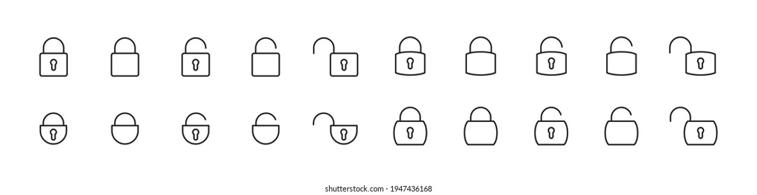 Line stroke set of lock icons. Premium symbols for your design. Editable vector objects isolated on a white background.